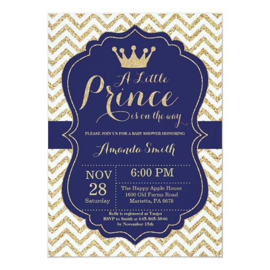Baby Shower Invitation Navy And Gold