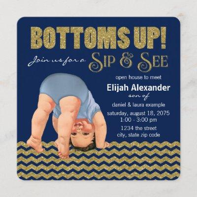 Here are some tips on how to host or be a guest at one of these. Boys Bottoms Up Sip And See Card Baby Shower Invitations