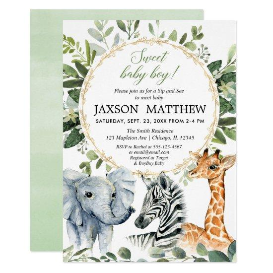 Meet Baby Boy Jungle Theme Invitation