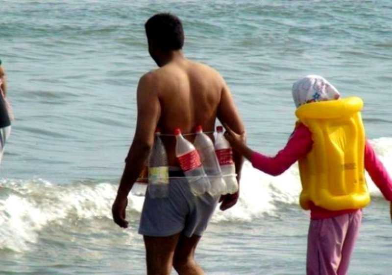 This Hilarious Life Jacket Alternative-18 Hilarious Beach Fails That Will Make You Laugh Out Loud