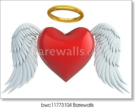 Angel Heart With Wings Art Print Barewalls Posters Prints Bwc11773104