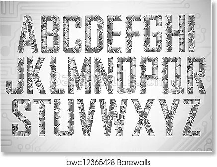 circuit board letters art print poster