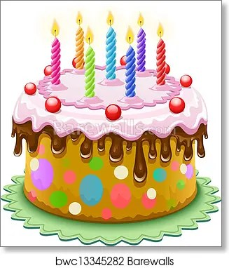 Birthday Cake With Burning Candles Art Print Barewalls Posters Prints Bwc13345282