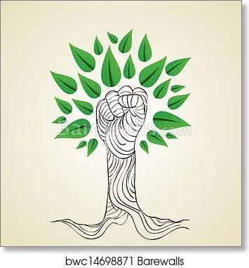 Go Green Hand Concept Tree Art Print Barewalls Posters Prints Bwc14698871