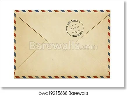 old paper air post mail envelope isolated on white art print poster