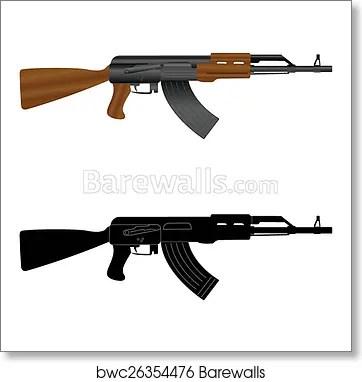 assault rifle kalashnikov ak 47 art print poster