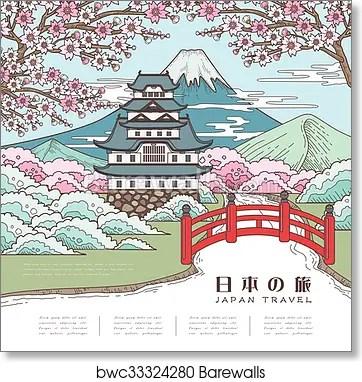 attractive japan travel poster art print poster