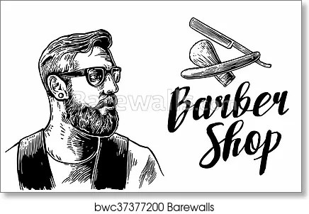 hipster shave haircut in the barber shop vector black and white illustrations and typography elements hand drawn vintage engraving for poster