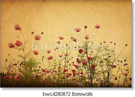 vintage flower paper background art print poster