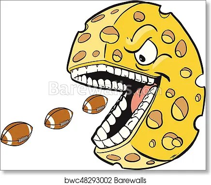 cheese wheel with face and mouth eating footballs art print poster