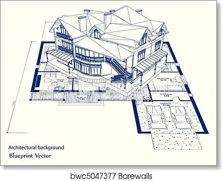 Architecture Blueprint Of A House Vector Art Print Barewalls Posters Prints Bwc5047377
