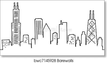 cartoon chicago skyline art print poster