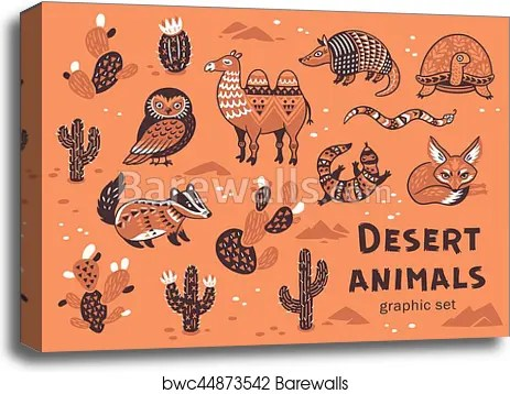 Set Of Desert Animals Canvas Print Barewalls Posters Prints Bwc44873542