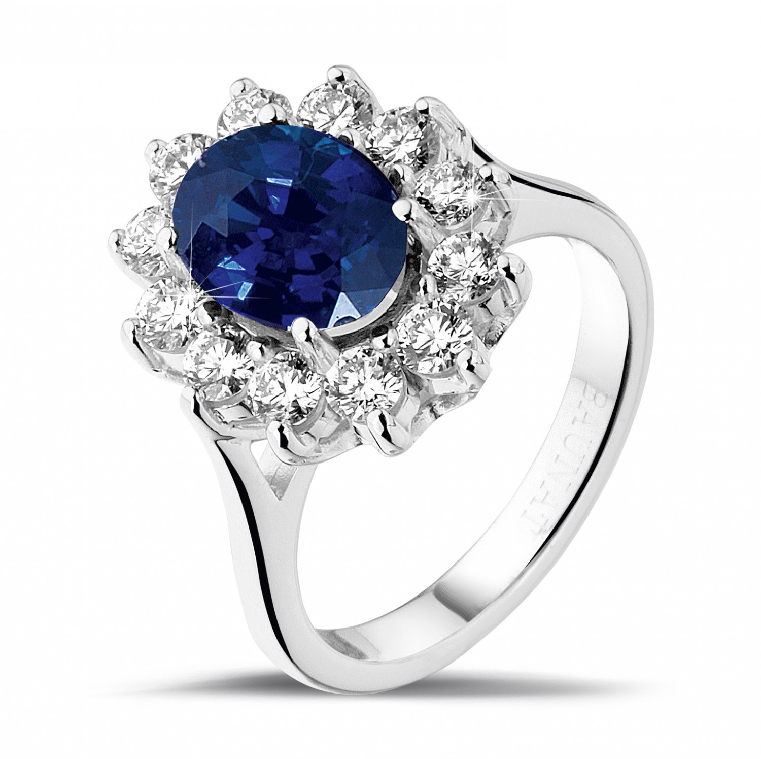 Entourage Ring In Platinum With An Oval Sapphire And Round
