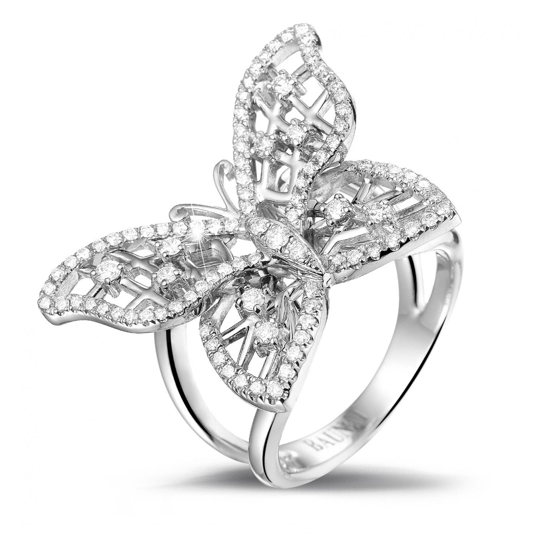 0 75 Carat Diamond Butterfly Design Ring In Platinum