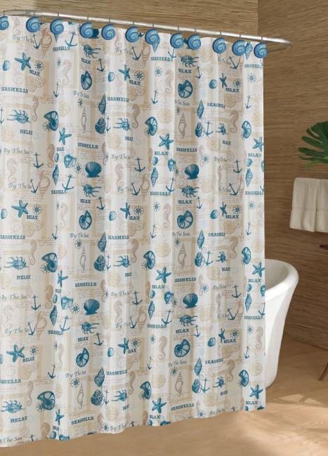 caribbean joe coastal tossed shells shower curtain
