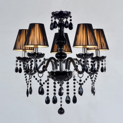 Charming Five Lights Jet Black Support And Crystal Strands Chandelier