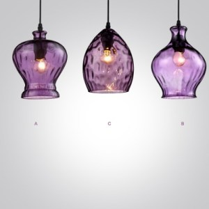 Romantic Purple Colored Glass Industrial Style Pendant Light         Romantic Purple Colored Glass Industrial Style Pendant Light