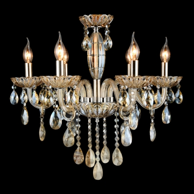Gorgeous Amber Crystal Droplets And Strands 6 Light Traditional Chandelier