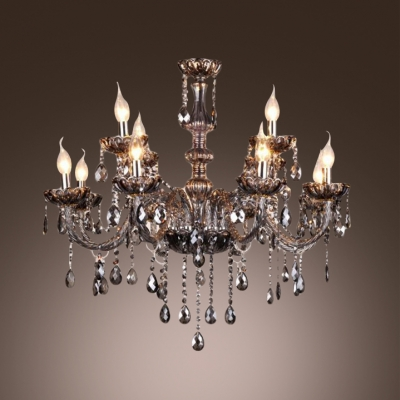 Smoky Gray Finely Hand Cut Crystal Chains And Drops6 Light Elegant Chandelier