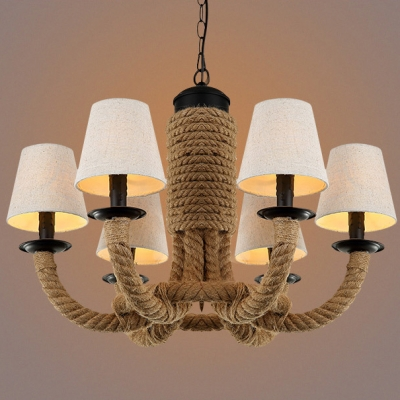 Restoration 26 Wide Matte Black 6 Light Rope Chandelier With Fabric Shade