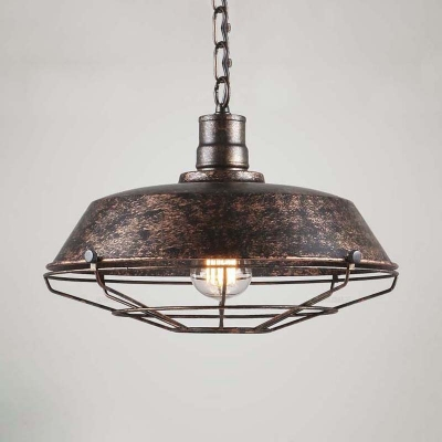 14 Inches Wide Weathered 1 Light Cage Led Pendant Lighting