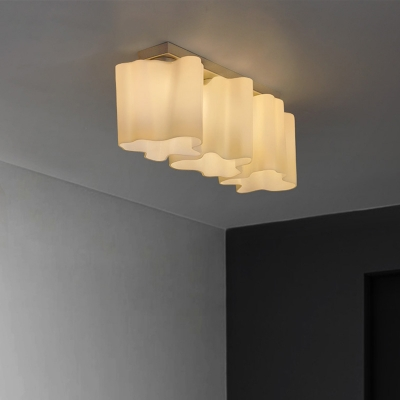 linear floral frosted blown white glass semi flush mount light
