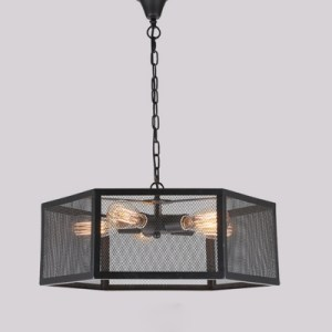 Industrial Pendant Chandelier 5 Light with Hexagon Mesh Cage in         Industrial Pendant Chandelier 5 Light with Hexagon Mesh Cage in Black