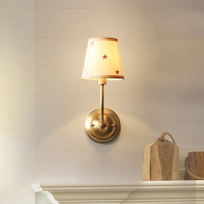 fabric tapered sconce lighting american retro 1 light wall light fixture in brass finish