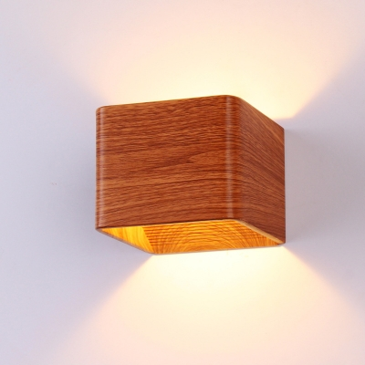 Dark Wood Grain Small Wall Sconce 6W 3000K/6000K Hollow ... on Small Wall Sconce Light id=66200