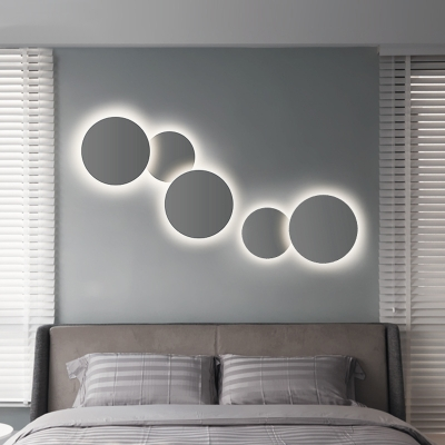 """Post Modern Slim Round Led Wall Sconce 8""""/12"""" Wide Metal ... on Led Interior Wall Sconces id=27519"""