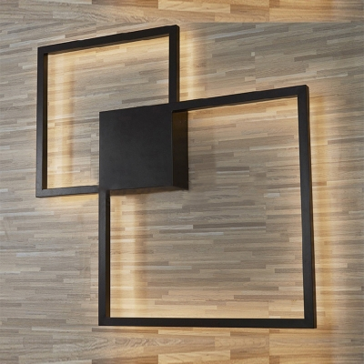 Post Modern Minimalist Black Square Led Wall Sconce Metal ... on Modern Indoor Wall Sconce id=35434