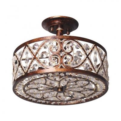 drum shape foyer semi flush mount light metal clear crystal 3 lights vintage style light fixture in rust