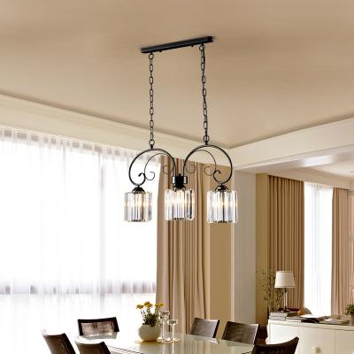 black crystal hanging light fixture modern iron 3 light island lights over kitchen island