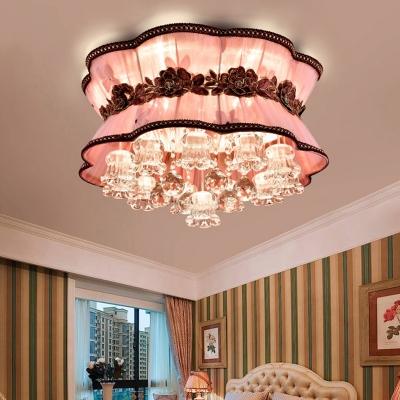 pink flower flush ceiling light modern elegant fabric led ceiling mount light with crystal decor for coffee shop