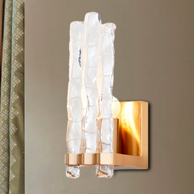 Textured Glass Shade Flush Wall Sconce Loft 1 Light Wall Mounted Lighting In Gold Hl565991 Buy At The Price Of 200 44 In Beautifulhalo Com Imall Com