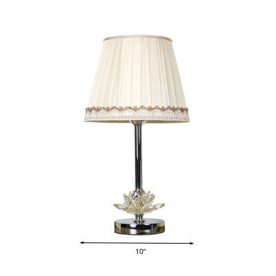 1 head nightstand light vintage bedroom table lamp with lotus hand cut crystal in white