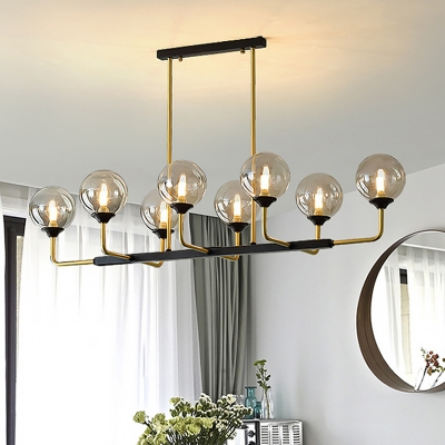 8 bulbs bedroom island light modern black gold pendant lighting fixture with orb amber glass shade