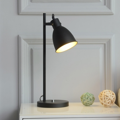 1 light table lamp vintage bedroom adjustable reading book light with conical iron shade in white black