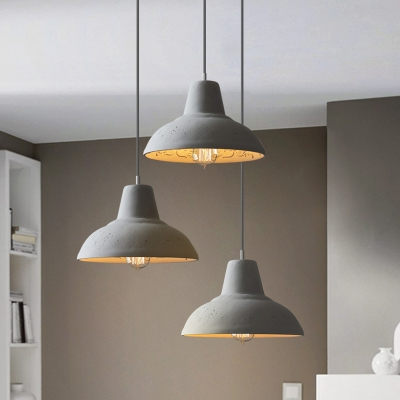 white grey barn pendant lighting industrial cement 1 bulb coffee house hanging lamp kit with carved inside