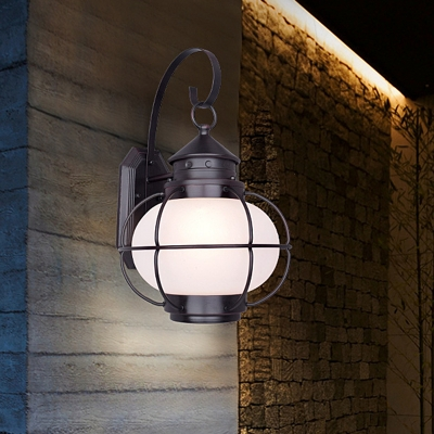 white clear glass lantern wall mount light fixture lodge 1 head outdoor wall lighting ideas with coffee bronze iron cage