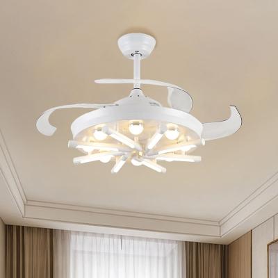 sputnik acrylic fan lighting country living room led semi flush light in black white with 3 blades 42 wide