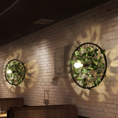 Black 1 Head Plant Wall Light Industrial Iron Wheel Arc Wall Lighting Ideas For Dining Room Beautifulhalo Com