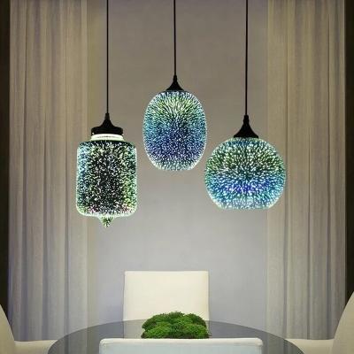 silver oval globe pendulum light novelty modern single 3d firework glass down lighting pendant over table