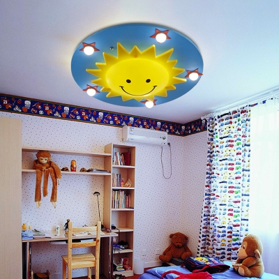 sun shaped baby room ceiling fixture wood 6 bulbs cartoon flush mount lighting in blue and yellow