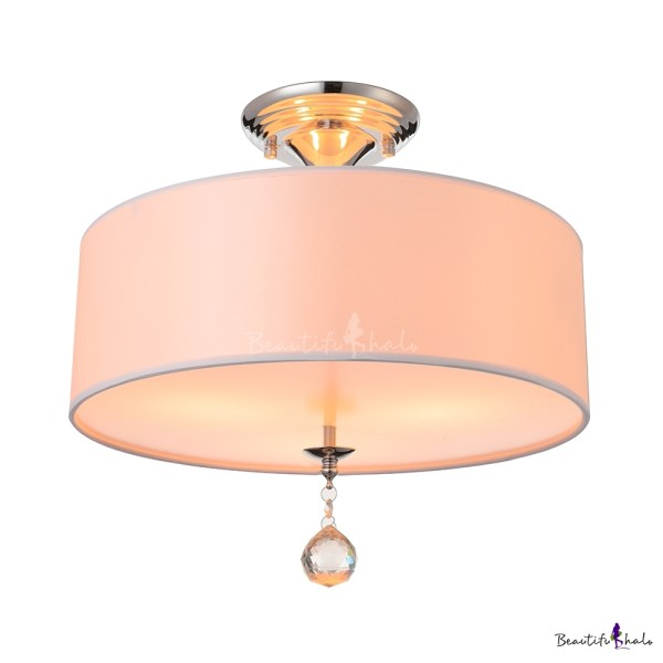 Grand White Fabric Drum Shade Semi Flush Ceiling Lights Adorned with     Grand White Fabric Drum Shade Semi Flush Ceiling Lights Adorned with  Polished Chrome Finish Iron Base and Clear Crystal Ball   Beautifulhalo com