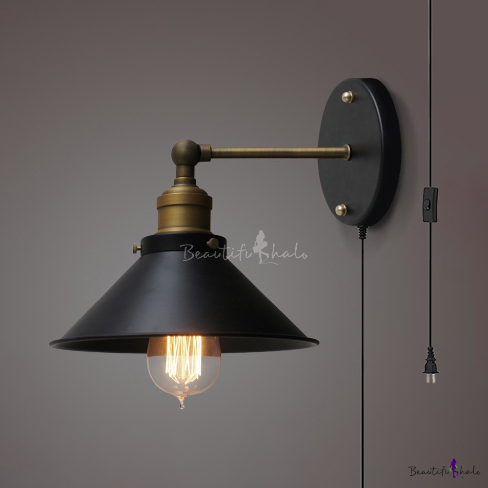 Antique Style Cone Wall Sconce 1 Light Metal Wall Lamp ... on Plugin Wall Sconce Lights id=37684