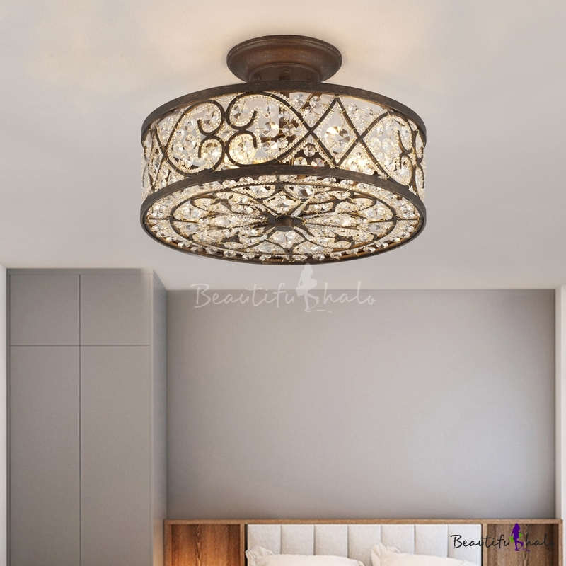 country style drum semi flush lighting 3 bulbs metal semi flush mount lighting in rustic copper