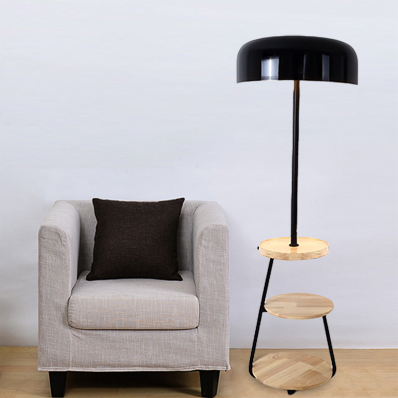 Round Bedside Reading Floor Lamp Iron 1 Head Nordic Floor Standing Light With 3 Layer Wood Table In Black Beautifulhalo Com