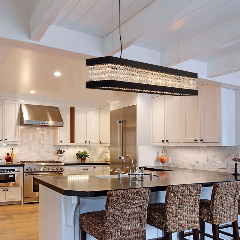 clear crystal linear chandelier lighting 6 7 9 lights vintage kitchen island lighting in black gold